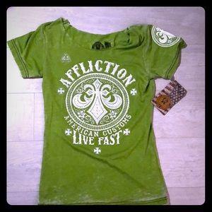 Green Affliction Graphic Tee Sz S rhinestones